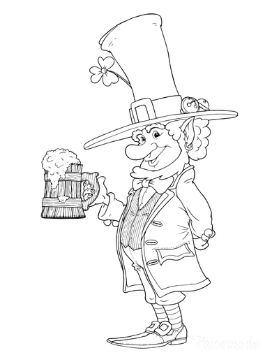 St Patricks Day Coloring Pages Leprechaun Beer