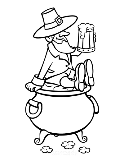 St Patricks Day Coloring Pages Leprechaun Beer Gold