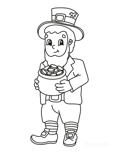 St Patricks Day Coloring Pages Leprechaun Holding Gold Pot
