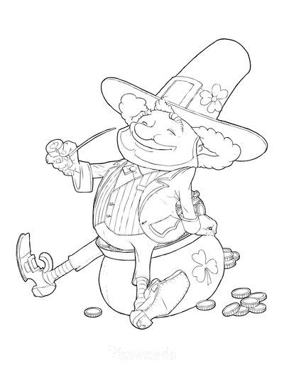 St Patricks Day Coloring Pages Leprechaun Pipe Pot Gold