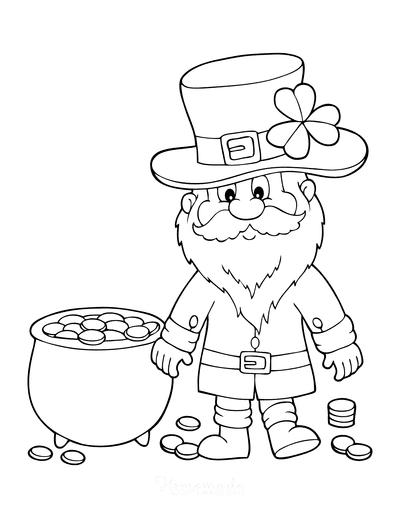St Patricks Day Coloring Pages Leprechaun Pot Gold
