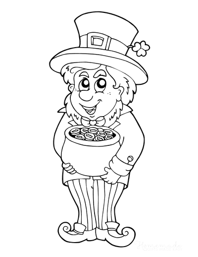 St Patricks Day Coloring Pages Leprechaun Pot of Gold