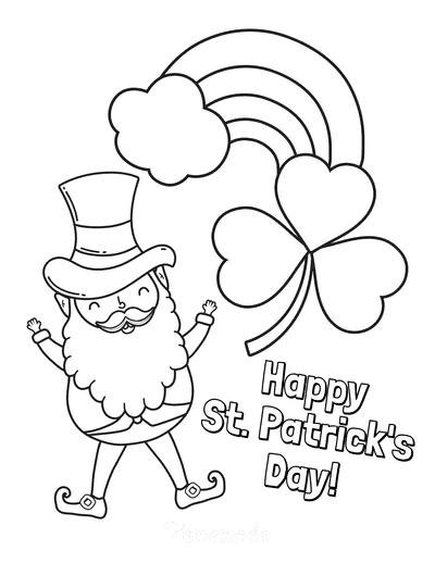 St Patricks Day Coloring Pages Leprechaun Rainbow Shamrock Happy Day