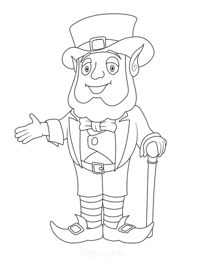 St Patricks Day Coloring Pages Leprechaun Walking Stick