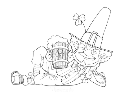 St Patricks Day Coloring Pages Leprechaun With Beer