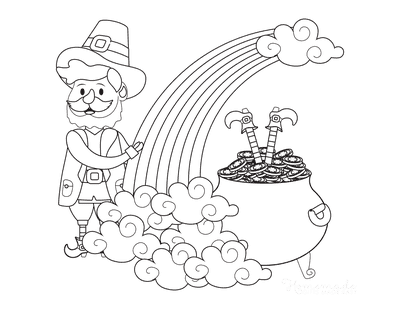St Patricks Day Coloring Pages Leprechauns Rainbow Pot Gold