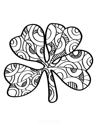 St Patricks Day Coloring Pages Patterned Shamrock