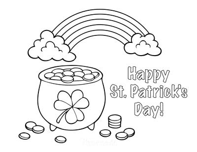 St Patricks Day Coloring Pages Pot Gold Rainbow Happy Day