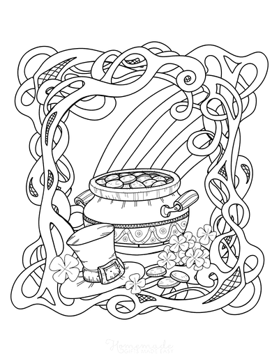 St Patricks Day Coloring Pages Pot Gold Rainbow Shamrock Hat