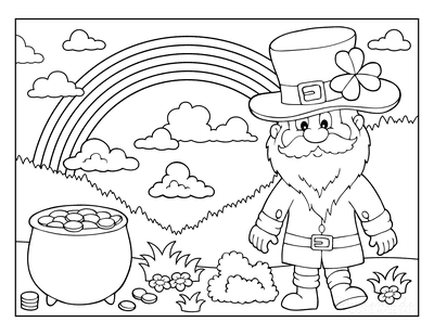 St Patricks Day Coloring Pages Rainbow Leprechaun Scene