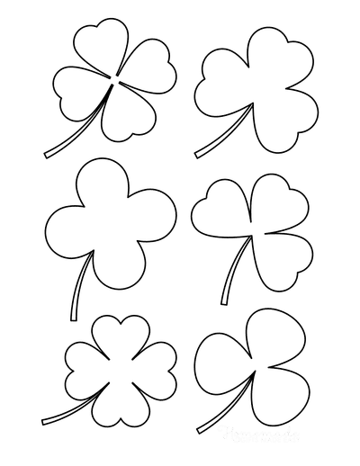 St Patricks Day Coloring Pages Shamrock Clover Shapes