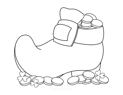 St Patricks Day Coloring Pages Shoe With Coins Shamrocks