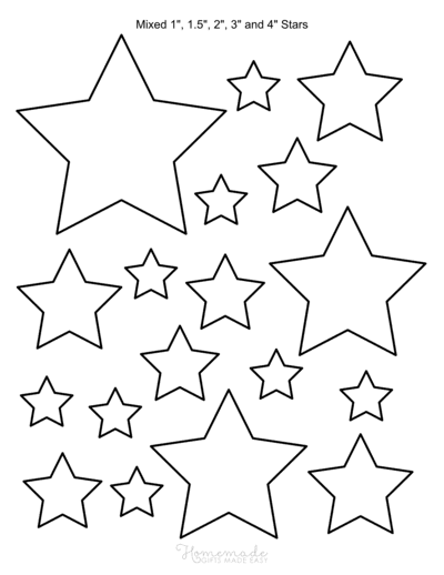 Star Template 5pointed Mixedsizes