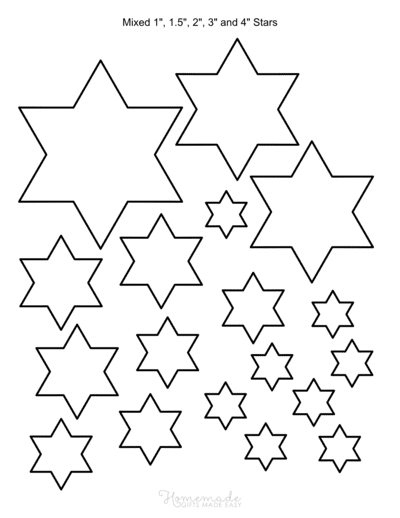 Star Template 6pointed Mixedsizes