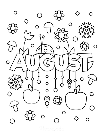 Summer Coloring Pages August for Kids