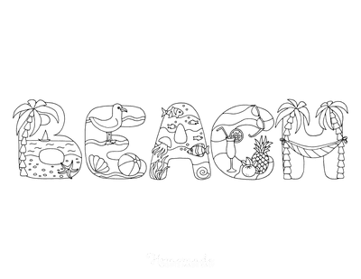 Summer Coloring Pages Beach Font