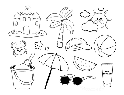 Summer Coloring Pages Beach Items