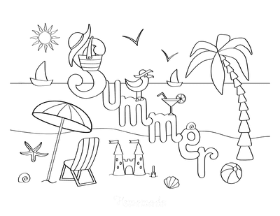 Summer Coloring Pages Beach Summer Sign
