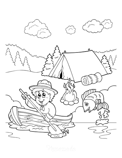 Summer Coloring Pages Boy Camping Lake Fish