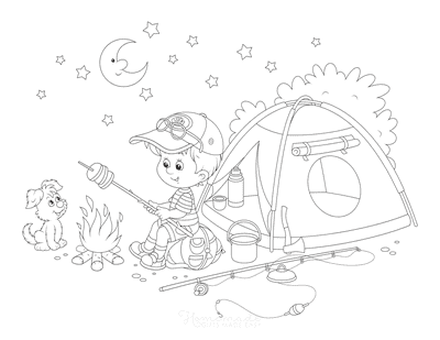 Summer Coloring Pages Boy Camping Toasting Marshmallows