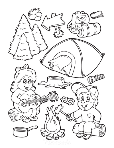 Summer Coloring Pages Boy Girl Camping