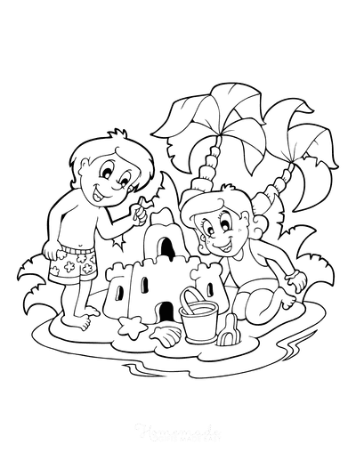 Summer Coloring Pages Boy Girl Sand Castle Beach