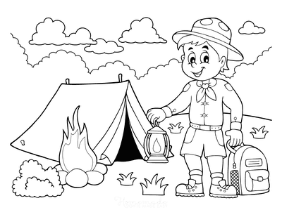 Summer Coloring Pages Boy Scout Camping