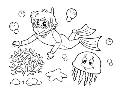 Summer Coloring Pages Boy Snorkeling