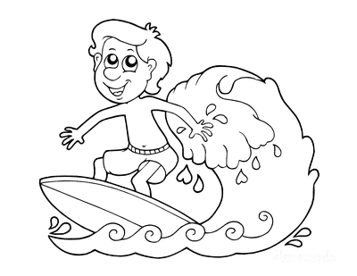 Summer Coloring Pages Boy Surfing