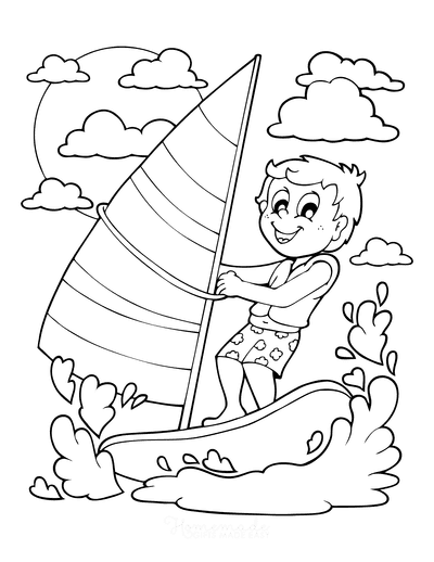 Summer Coloring Pages Boy Windsurfing