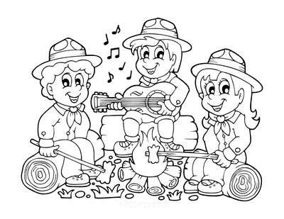 Summer Coloring Pages Campfire Guitar Marshmallows