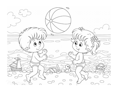 Summer Coloring Pages Children Beach Ball