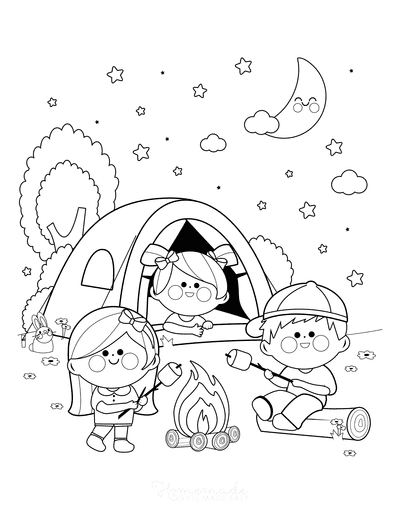 Summer Coloring Pages Children Camping Starry Night Marshmallows
