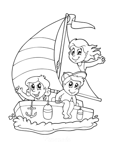 Summer Coloring Pages Children Sailing
