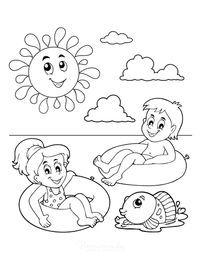 Summer Coloring Pages Children Tube Float Sea