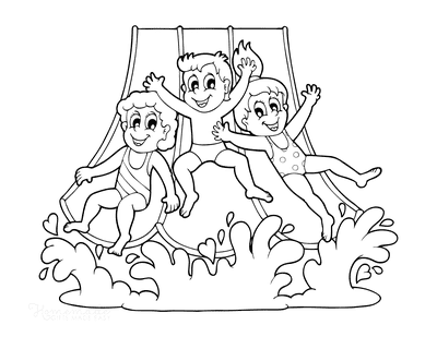 Summer Coloring Pages Children Waterslide