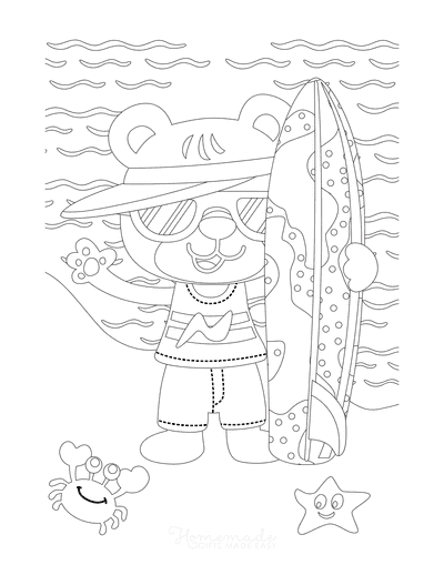 Summer Coloring Pages Cute Bear Surfboard