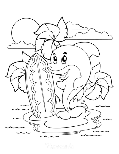 Summer Coloring Pages Cute Island Surfing Dolphin