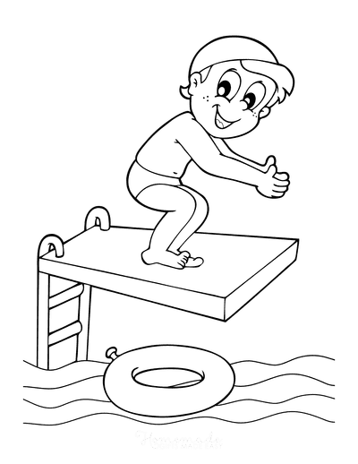 Summer Coloring Pages Diving Board Swimming Pool