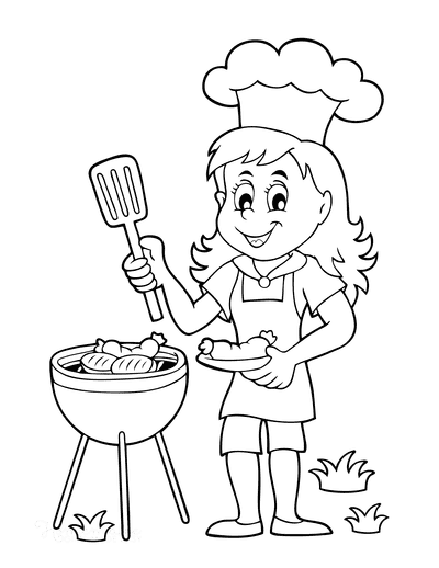Summer Coloring Pages Girl Barbecue Grill