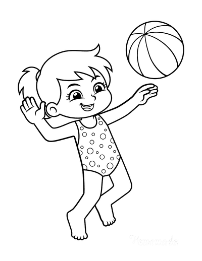 Summer Coloring Pages Girl Beach Ball