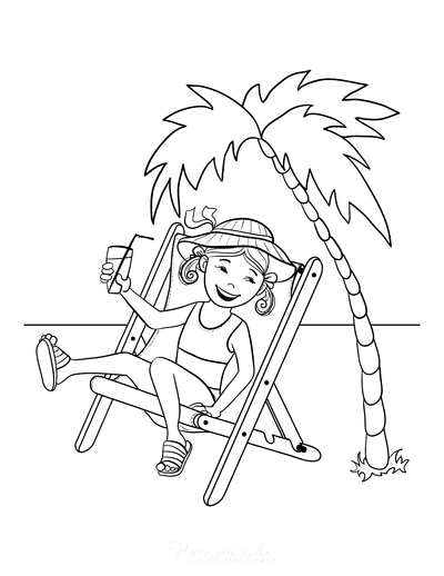 Summer Coloring Pages Girl on Beach Deckchair Palm Tree