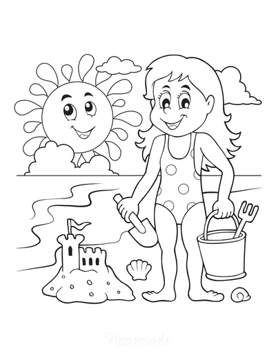 Summer Coloring Pages Girl Sandcastle Beach