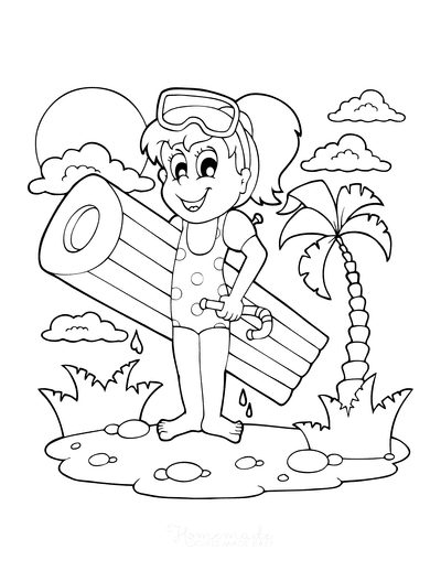 Summer Coloring Pages Girl Snorkel Float