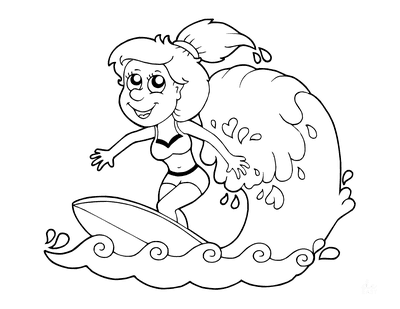 Summer Coloring Pages Girl Surfing
