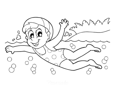 Summer Coloring Pages Girl Swimming