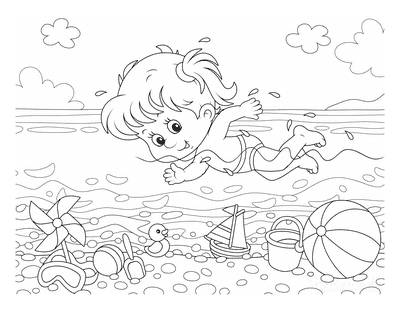 Summer Coloring Pages Girl Swimming Beach