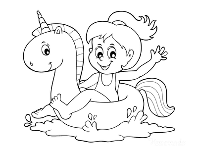 Summer Coloring Pages Girl Unicorn Tube Float