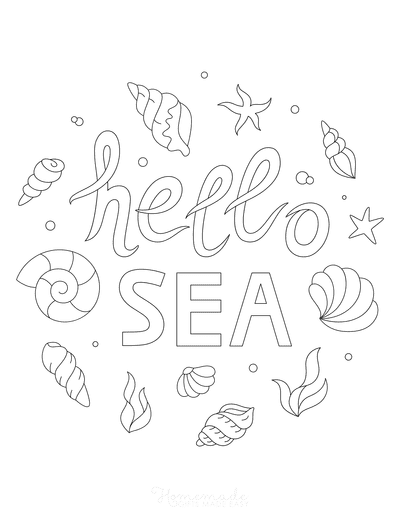 Summer Coloring Pages Hello Sea Shells