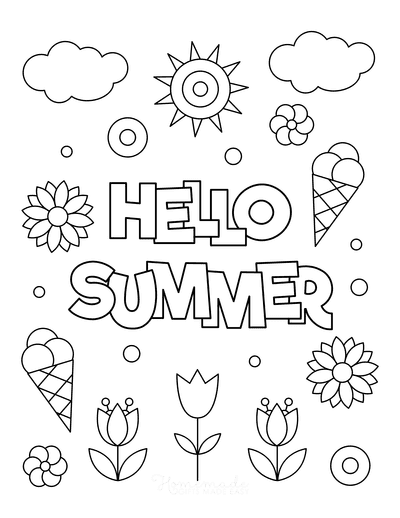 Summer Coloring Pages Hello Summer